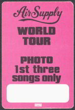 ##MUSICBP0008  - 1984 Air Supply Now and Forever Tour OTTO Backstage Pass