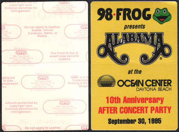 ##MUSICBP0369 - Alabama OTTO Cloth After Concert Party Pass from the September 30, 1995 Concert in Daytona Beach