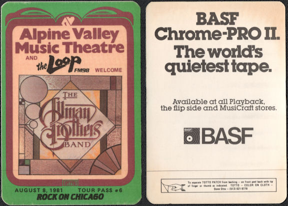 ##MUSICBP0540  - Rare 1981 Alpine  Valley Theatre OTTO The Allman Brothers Band Tour OTTO Backstage Pass - Radio Promo The Loop FM 98