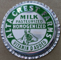 #DC217 - Alta Crest Homogenized Milk Bottle Cap Picturing Cow Head