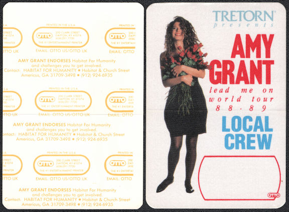 ##MUSICBP0283 - Amy Grant OTTO Cloth Backstage Local Crew Pass from the 1988/89 Lead Me On World Tour