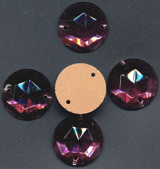 #BEADS0856 - Group of 5 Fancy Foil Flat Back Round Amethyst 18mm Sew On Glass Rhinestones