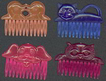 #TY303 - Group of 4 different Carnival Prize Kid Size Animal Hair Combs