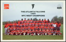 #CC111 - Coke Advertising Card with 1980 Atlanta Falcons Champions Picture