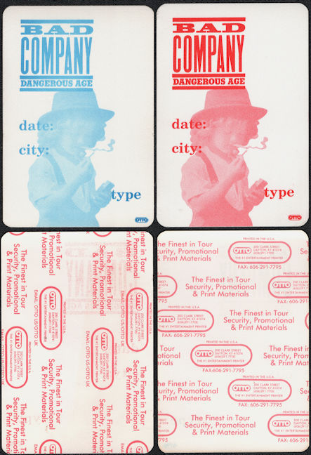 ##MUSICBP0505 - Pair of Bad Company OTTO Cloth Backstage Passes from the Dangerous Age Tour