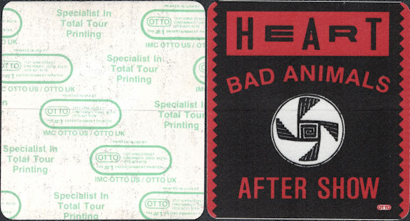 ##MUSICBP0009  - Heart OTTO After Show Backstage Pass from the Bad Animals Tour - Black Background