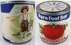#CS324- Bare Foot Boy Tomatoes Label on an old Wax Seal Can
