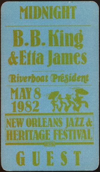 ##MUSICBP0459 - Super Rare B. B. King Etta James Cloth OTTO Backstage Pass - 1982 New Orleans