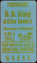 ##MUSICBP0459 - Super Rare B. B. King Etta James Cloth OTTO Backstage Pass - 1982 New Orleans
