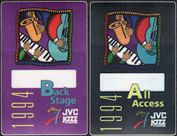 ##MUSICBP0133 - Pair of Two Different 1994 JVC Jazz Festival OTTO Cloth Backstage Passes - B. B. King