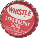 #BC011 - Group of 10 Whistle Strawberry Plastic Lined Soda Caps