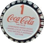 #BC002  - Coca Cola Soda Caps with Number 1 on it - As low as 9¢ each