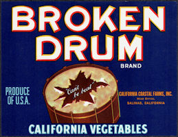 ZLSH401 - Group of 12 Broken Drum California Vegetables Crate Labels