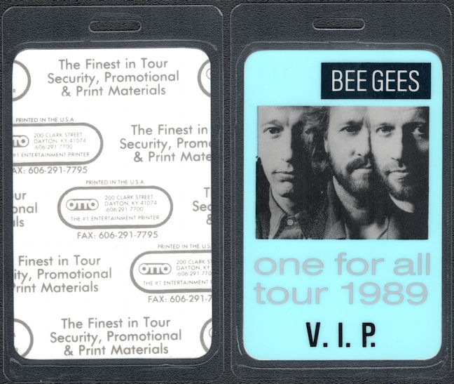 ##MUSICBP0736 - Bee Gees OTTO Laminated Backstage VIP Pass from the 1989 One For All Tour