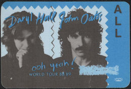 ##MUSICBP0726  - Daryl Hall & John Oates OTTO Cloth Backstage Pass from the 1988/89 ooh yeah! Tour