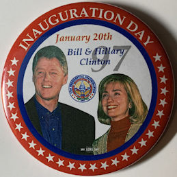 #PL357 - Large Bill & Hillary January 20th 1997 Inauguration Day Pinback