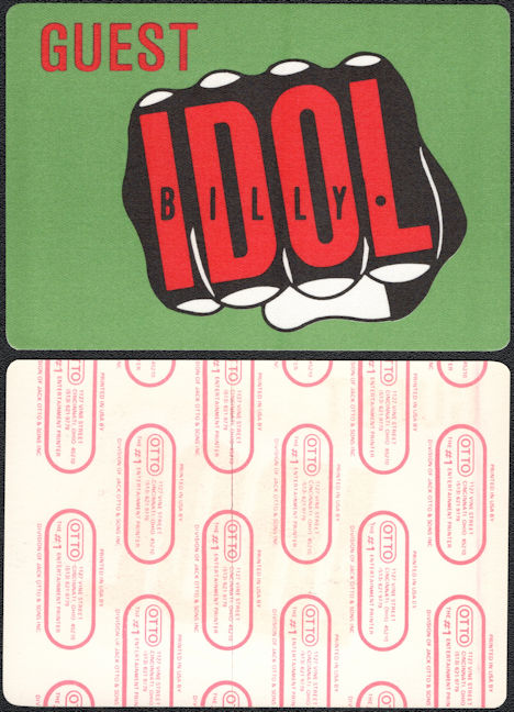 ##MUSICBP0267  - BIlly Idol OTTO Cloth Backstage Guest Pass from the 1986 Whiplash Smile Tour