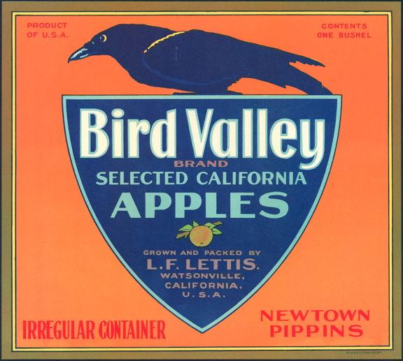 #ZLC172 - Bird Valley Apples Crate Label