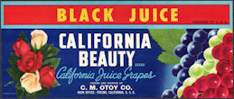 #ZLSG109 - California Beauty Black Juice Grape Crate Label - Fresno, California
