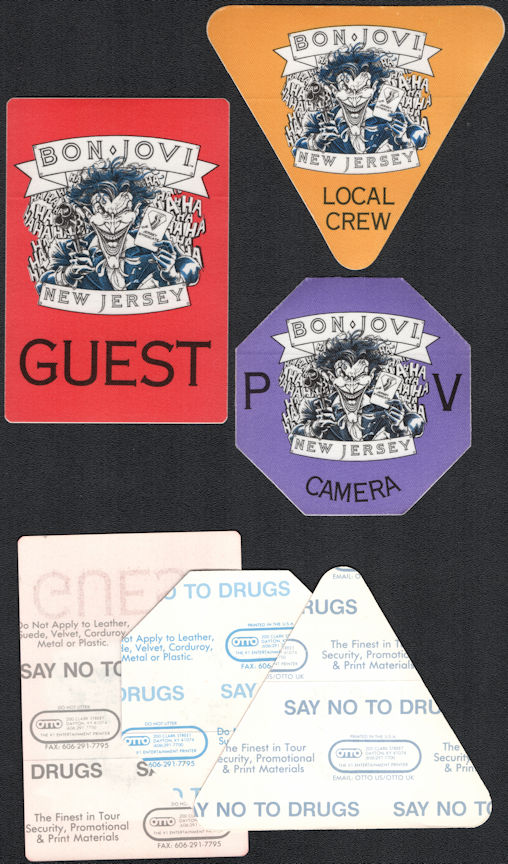 ##MUSICBP0384 - Group of 3 Different Bon Jovi OTTO Cloth Backstage Pass from the 1988 New Jersey Syndicate Tour - Joker (Batman) Pictured