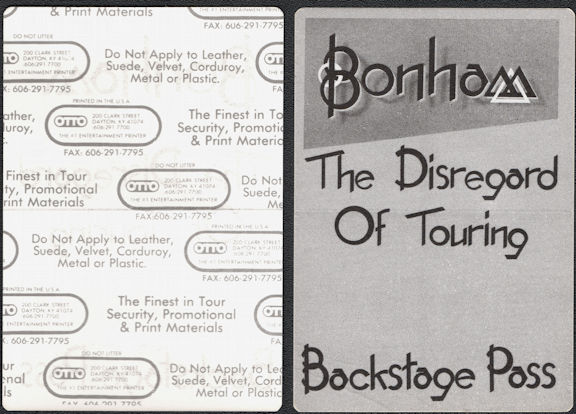 ##MUSICBP0681 - Bonham OTTO Cloth Backstage Pass from the 1989 Diregard of Timekeeping Tour