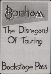 ##MUSICBP0681 - Bonham OTTO Cloth Backstage Pass from the 1989 Diregard of Timekeeping Tour
