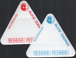 ##MUSICBP0401 - Pair of Alice Cooper Cloth Triangle Backstage Passes from the 2000 Brutal Planet Tour