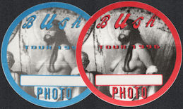 ##MUSICBP0547 - Pair of Two Different Colored 1996 Bush OTTO Photo Cloth Backstage Photo Pass from the Razorblade Suitcase Tour