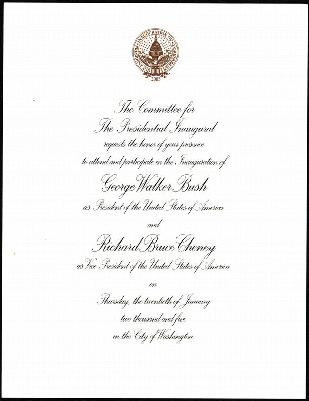 #PL087 - George Walker Bush/Richard Bruce Cheney Inauguration Invitation