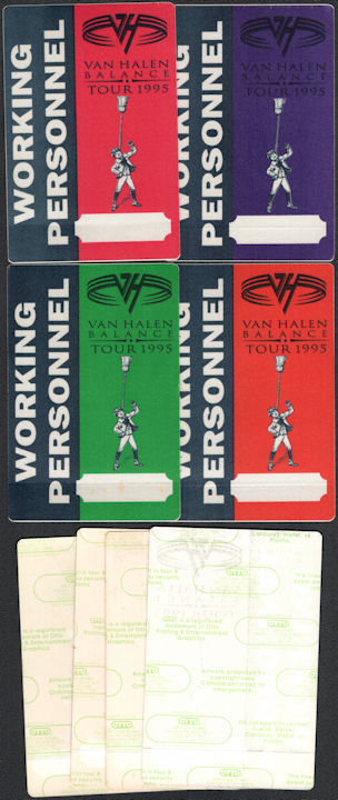 ##MUSICBP0789 - Group of 4 Different Colored Van Halen OTTO Cloth Working Personnel Pass from the 1995 Balance Tour