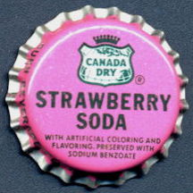 #BC155 - Group of 10 Cork Lined Canada Dry Strawberry Soda Bottle Caps