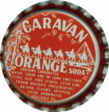 #BC015 - Group of 10 Plastic Lined Caravan Orange Soda Bottle Caps
