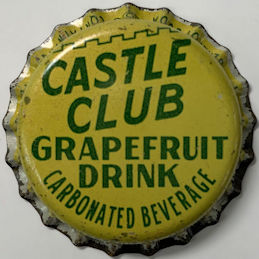 #BC215 - Group of 10 Plastic Lined Castle Club Grapefruit Drink Soda Bottle Caps