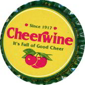 #BC049 - Group of 10 Very Colorful Cheerwine Plastic Lined Picture Soda Caps