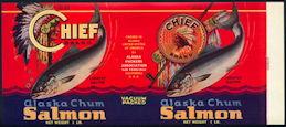 #ZLCA265 - Chief Brand Alaska Chum Salmon Can Label - Indian