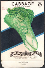 #CE053 - Chinese Chihili Cabbage Lone Star 5¢ Seed Pack - As Low As 50¢ each