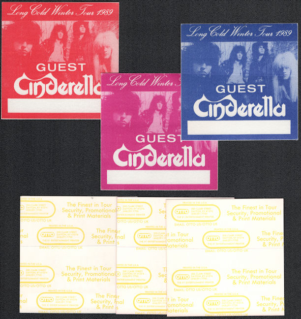 ##MUSICBP0673 - Group of 3 Different Colored Cinderella OTTO Cloth Guest Backstage Passes from the 1989 Long Cold Winter Tour