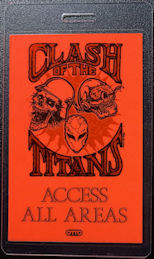 ##MUSICBP0062  - Rare Day Glow Orange Clash of the Titans Laminated OTTO Backstage pass from the 1990 tour - Slayer, Megadeth, Testament, Suicidal Tendencies