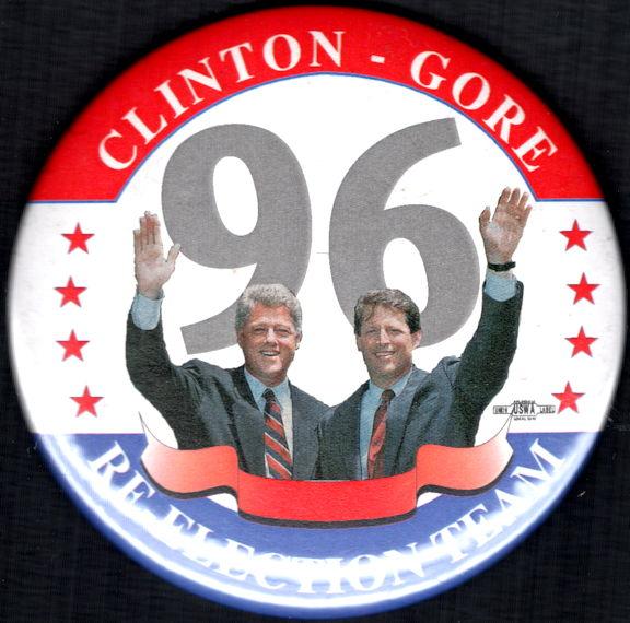 #PL351 - Large Clinton Gore 96 Re-Election Campaign Jugate Pinback