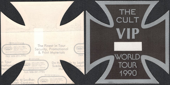 "##MUSICBP0839 - Unusual ""The Cult"" VIP OTTO Cloth Backstage Pass from the 1990 World Tour - Diecut into an Iron Cross Shape"