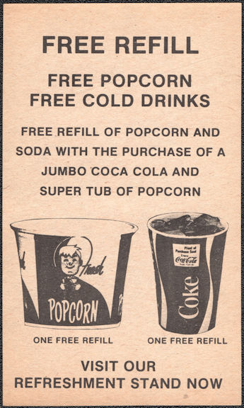 #CC368 - Group of 4 Free Refill Coca Cola Theater Coke Coupons