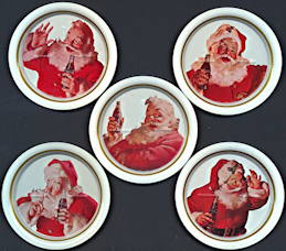 #CC327 - Group of 5 Ohio Art Metal Haddon Sundblum Santa Claus Coca Cola Coasters