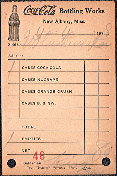 #CC370 - 1938 Coke Route Receipt from the New Albany, Mississippi Plant