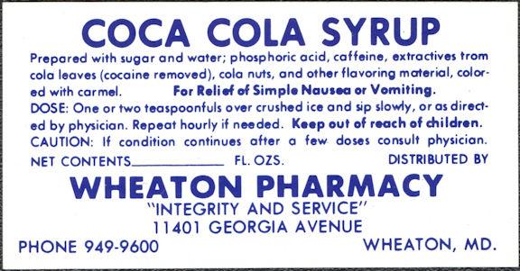 #CC380 - Coca Cola Syrup Label (Says Cocaine Removed) - Wheaton, MD
