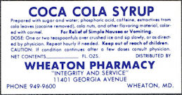 #CC380 - Coca Cola Syrup Label (Says Cocaine Removed) - Wheaton, MD