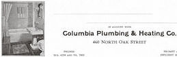#ZZZ192 - Group of 4 Columbia Plumbing and Heating Letterhead - Old Time Bathroom Pictured