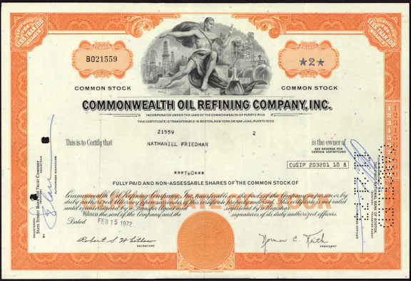 #ZZCE057 - Commonwealth OIl Refining Company, Inc. Stock Certificate