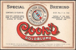 #ZLBE119 - Cook's Goldblume Beer Bottle Label - IRTP