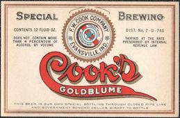 #ZLBE119 - Cook's Goldblume Beer Bottle Label - IRTP