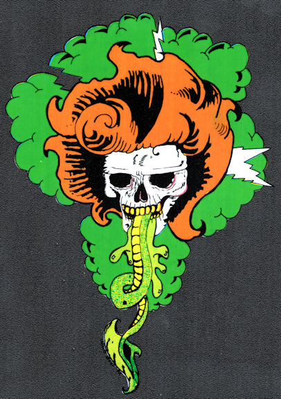 ##MUSICBP2044 - Grateful Dead Car Window Tour Sticker/Decal - Pictures a Skull with Orange Hair and Lightning Bolts